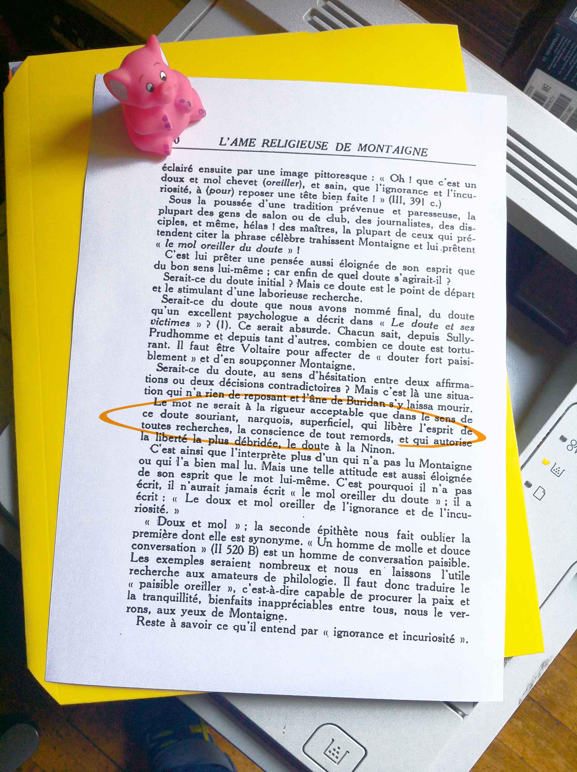 Clément Sclafert,  L'âme religieuse de Montaigne, Paris,Nouvelles Éditions Latines,  1951, p. 110.
